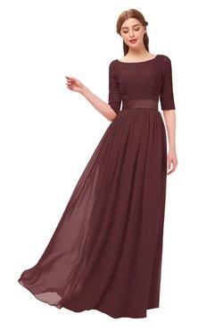 a3ad208c6c7c9 ColsBM Payton Burgundy Bridesmaid Dresses Sash A-line Modest Bateau Half  Length Sleeve Zip up