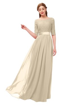 ColsBM Payton Champagne Bridesmaid Dresses Sash A-line Modest Bateau Half Length Sleeve Zip up