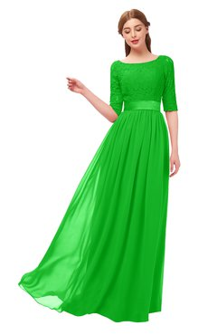ColsBM Payton Classic Green Bridesmaid Dresses Sash A-line Modest Bateau Half Length Sleeve Zip up
