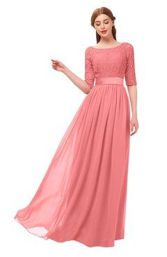 ColsBM Payton Coral Bridesmaid Dresses Sash A-line Modest Bateau Half Length Sleeve Zip up