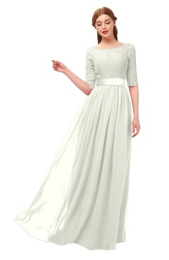 ColsBM Payton Cream Bridesmaid Dresses Sash A-line Modest Bateau Half Length Sleeve Zip up