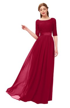 ColsBM Payton Dark Red Bridesmaid Dresses Sash A-line Modest Bateau Half Length Sleeve Zip up