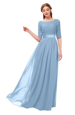 ColsBM Payton Dusty Blue Bridesmaid Dresses Sash A-line Modest Bateau Half Length Sleeve Zip up