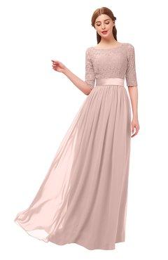 ColsBM Payton Dusty Rose Bridesmaid Dresses Sash A-line Modest Bateau Half Length Sleeve Zip up