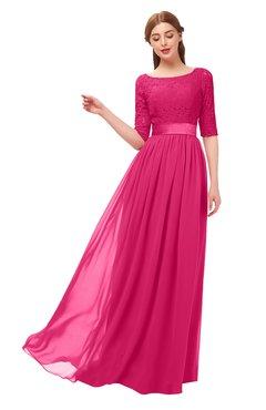 ColsBM Payton Fuschia Bridesmaid Dresses Sash A-line Modest Bateau Half Length Sleeve Zip up