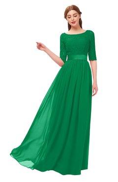 ColsBM Payton Green Bridesmaid Dresses Sash A-line Modest Bateau Half Length Sleeve Zip up