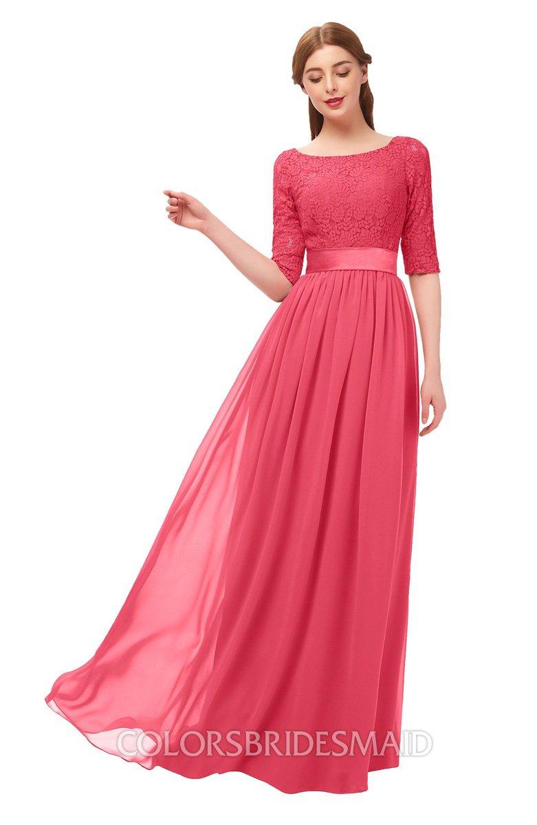 ad21871022 ColsBM Payton Guava Bridesmaid Dresses Sash A-line Modest Bateau Half Length  Sleeve Zip up