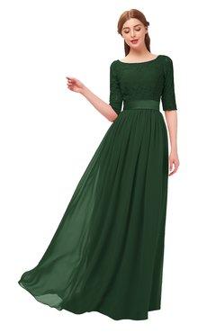 dd6d8944be ColsBM Payton Hunter Green Bridesmaid Dresses Sash A-line Modest Bateau  Half Length Sleeve Zip