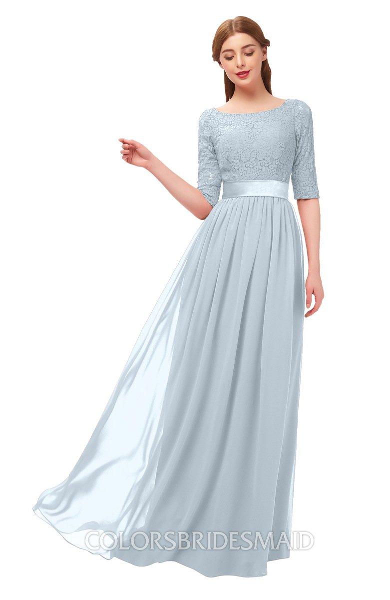 6edea57519d6 ColsBM Payton Illusion Blue Bridesmaid Dresses Sash A-line Modest Bateau  Half Length Sleeve Zip