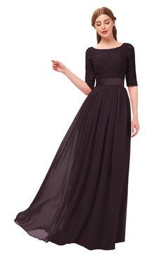 ColsBM Payton Italian Plum Bridesmaid Dresses Sash A-line Modest Bateau Half Length Sleeve Zip up