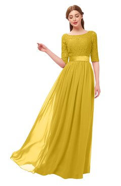 45c10f1edd2 ColsBM Payton Lemon Curry Bridesmaid Dresses Sash A-line Modest Bateau Half  Length Sleeve Zip