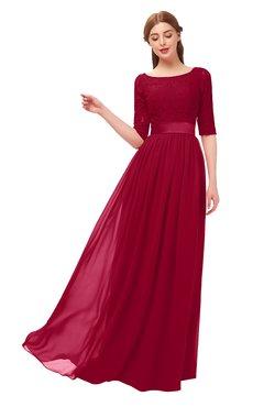 ColsBM Payton Maroon Bridesmaid Dresses Sash A-line Modest Bateau Half Length Sleeve Zip up