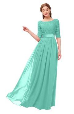 332bba8b523 ColsBM Payton Mint Green Bridesmaid Dresses Sash A-line Modest Bateau Half  Length Sleeve Zip