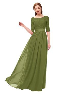 d805ecc253a4 ColsBM Payton Olive Green Bridesmaid Dresses Sash A-line Modest Bateau Half Length  Sleeve Zip