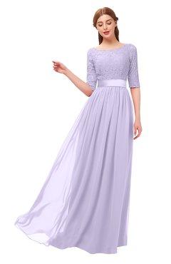 d69f5cf64833 ColsBM Payton Pastel Lilac Bridesmaid Dresses Sash A-line Modest Bateau Half  Length Sleeve Zip