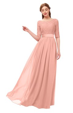 ColsBM Payton Peach Bridesmaid Dresses Sash A-line Modest Bateau Half Length Sleeve Zip up