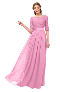 ColsBM Payton Pink Bridesmaid Dresses Sash A-line Modest Bateau Half Length Sleeve Zip up