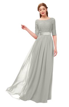 ColsBM Payton Platinum Bridesmaid Dresses Sash A-line Modest Bateau Half Length Sleeve Zip up