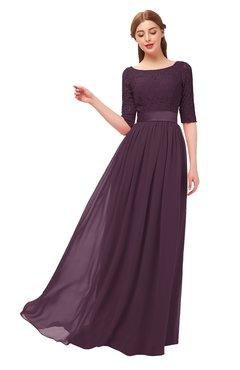 ColsBM Payton Plum Bridesmaid Dresses Sash A-line Modest Bateau Half Length Sleeve Zip up