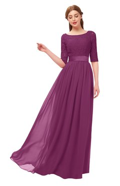 ColsBM Payton Raspberry Bridesmaid Dresses Sash A-line Modest Bateau Half Length Sleeve Zip up