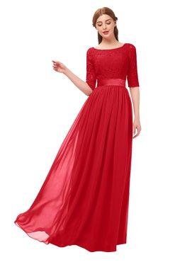 ColsBM Payton Red Bridesmaid Dresses Sash A-line Modest Bateau Half Length Sleeve Zip up