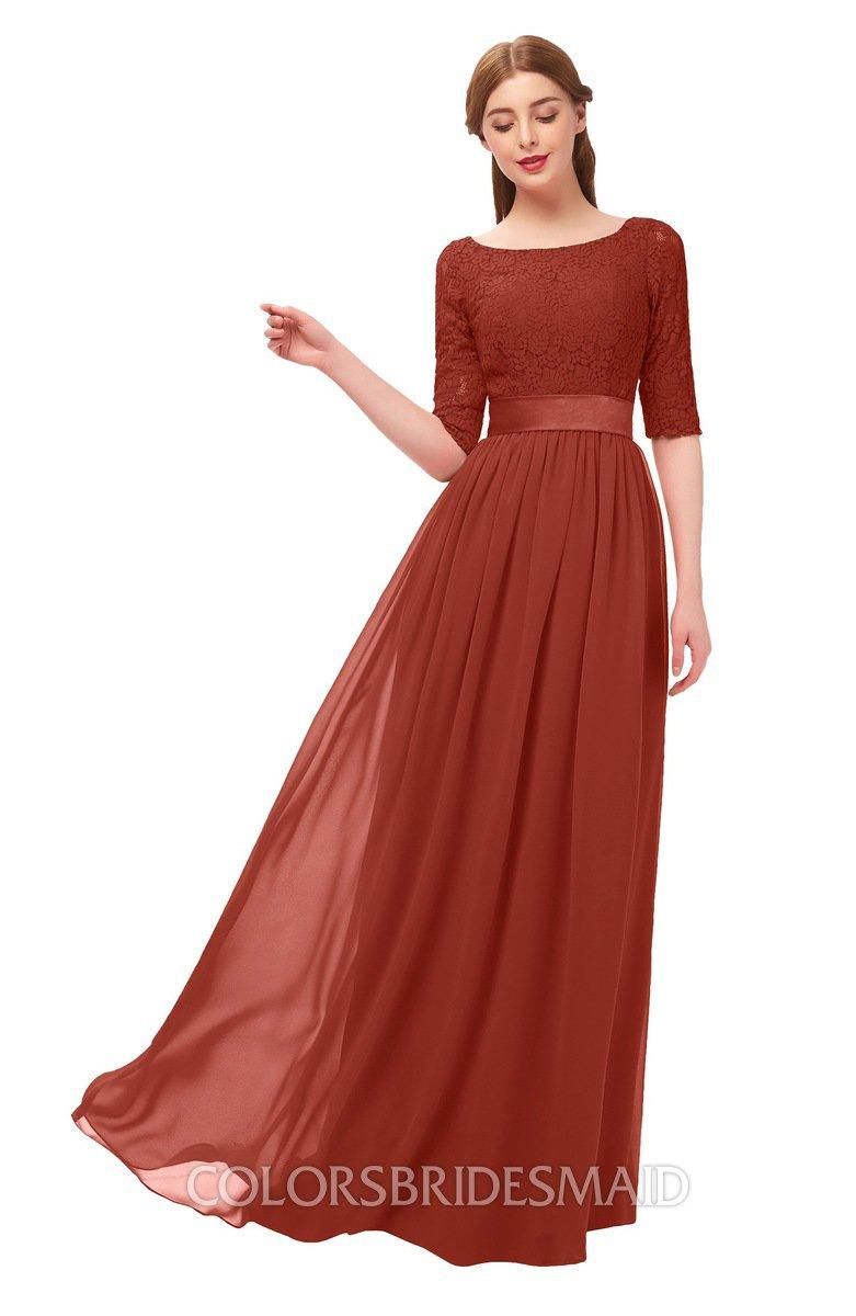 f26139829e9 ColsBM Payton Rust Bridesmaid Dresses Sash A-line Modest Bateau Half Length  Sleeve Zip up