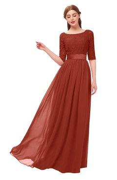 ColsBM Payton Rust Bridesmaid Dresses Sash A-line Modest Bateau Half Length Sleeve Zip up