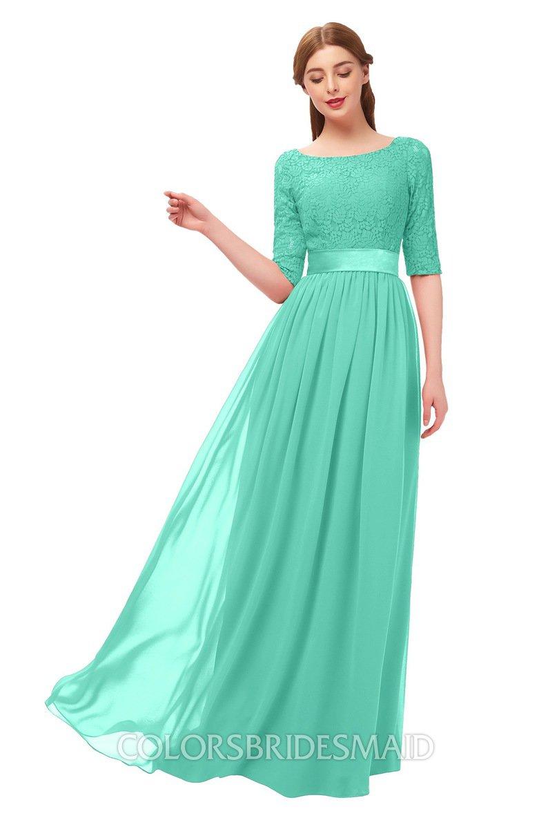 dd5f606b4fe ColsBM Payton Seafoam Green Bridesmaid Dresses Sash A-line Modest Bateau Half  Length Sleeve Zip