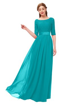 ColsBM Payton Teal Bridesmaid Dresses Sash A-line Modest Bateau Half Length Sleeve Zip up