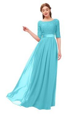 d967bcb4f37a1 ColsBM Payton Turquoise Bridesmaid Dresses Sash A-line Modest Bateau Half  Length Sleeve Zip up