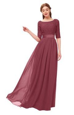 ColsBM Payton Wine Bridesmaid Dresses Sash A-line Modest Bateau Half Length Sleeve Zip up
