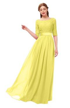 26907d2eefbe ColsBM Payton Yellow Iris Bridesmaid Dresses Sash A-line Modest Bateau Half  Length Sleeve Zip