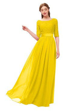 ColsBM Payton Yellow Bridesmaid Dresses Sash A-line Modest Bateau Half Length Sleeve Zip up