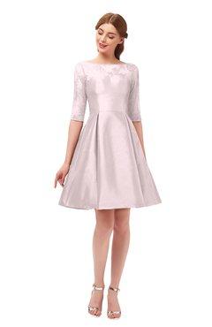 8b0c1cb6a5 ColsBM Shiloh Blush Bridesmaid Dresses Elegant Zipper Elbow Length Sleeve  Mini Baby Doll Lace