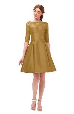 992c27cd6fc ColsBM Shiloh Honey Mustard Bridesmaid Dresses Elegant Zipper Elbow Length  Sleeve Mini Baby Doll Lace