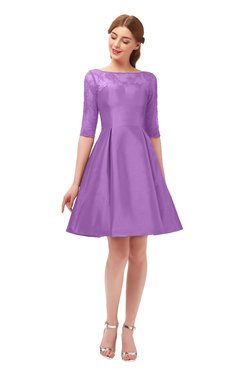 ColsBM Shiloh Hyacinth Bridesmaid Dresses Elegant Zipper Elbow Length Sleeve Mini Baby Doll Lace