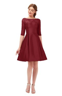 ColsBM Shiloh Maroon Bridesmaid Dresses Elegant Zipper Elbow Length Sleeve Mini Baby Doll Lace