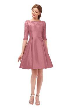 ColsBM Shiloh Mauveglow Bridesmaid Dresses Elegant Zipper Elbow Length Sleeve Mini Baby Doll Lace