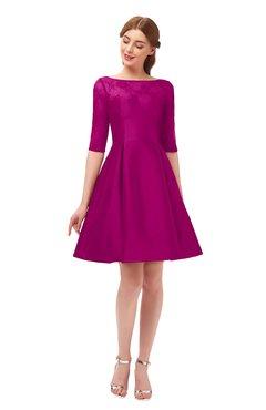 ColsBM Shiloh Sangria Bridesmaid Dresses Elegant Zipper Elbow Length Sleeve Mini Baby Doll Lace