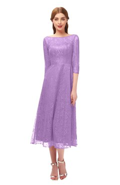 ColsBM Lauryn Begonia Bridesmaid Dresses A-line Lace Cute Tea Length Sabrina Three-fourths Length Sleeve