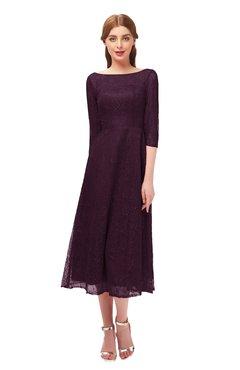 ColsBM Lauryn Claret Bridesmaid Dresses A-line Lace Cute Tea Length Sabrina Three-fourths Length Sleeve