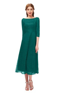 ColsBM Lauryn Parasailing Bridesmaid Dresses A-line Lace Cute Tea Length Sabrina Three-fourths Length Sleeve