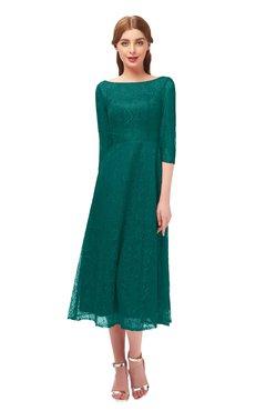 ColsBM Lauryn Parasailing Bridesmaid Dresses A-line Lace Cute Tea Length Sabrina Three-fourths Length Sleeve