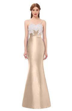 ColsBM Greer Beige Bridesmaid Dresses Trumpet Zip up Modern Court Train Spaghetti Sash