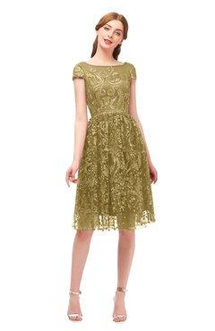 5be5b79bf5345 ColsBM Arlie Bronze Mist Bridesmaid Dresses Lace Classic Zipper Knee Length  A-line Short Sleeve