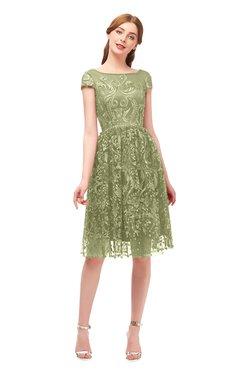 ColsBM Arlie Cedar Bridesmaid Dresses Lace Classic Zipper Knee Length A-line Short Sleeve
