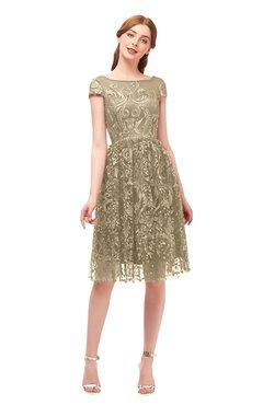 ColsBM Arlie Cornstalk Bridesmaid Dresses Lace Classic Zipper Knee Length A-line Short Sleeve
