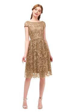 5d4dfaaa1b94 ColsBM Arlie Indian Tan Bridesmaid Dresses Lace Classic Zipper Knee Length  A-line Short Sleeve