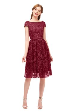 ColsBM Arlie Rhubarb Bridesmaid Dresses Lace Classic Zipper Knee Length A-line Short Sleeve