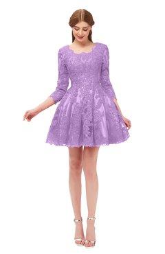 ColsBM Cass Begonia Bridesmaid Dresses Zipper Three-fourths Length Sleeve Baby Doll Cute Mini Lace